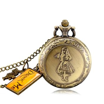 Bronze Antique Style Pocket Watch Alice in Wonderland Cute Rabbit & Alice Drink Me Women Pendant Necklace With Chain Xmas Gift