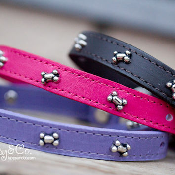 Leather Dog Collar with Bones