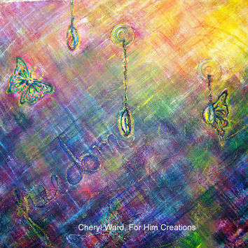 ORIGINAL PAINTING, Abstract Art, Butterflies, Acrylic Painting on Canvas, 20x20 Painting, Colorful Artwork