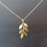 Lovely Cute, Branch Leaves Pendant, Gold Filled Chain, Necklace