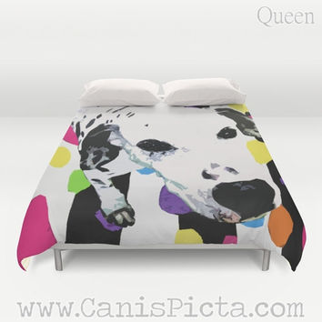 Dalmatian Duvet Animal Dog Puppy Pop Art Unique Queen King Full Decor Home Bed Bedding Pet Stripe Spot Bright Room Accent Cute Colorful Pink