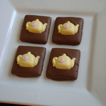 10 Milk Chocolate Dipped Graham Cracker Yellow Teapots Pink Rose Flower Girls Tea Party Birthday Favors Princess Beauty Beast