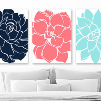Succulent Flower Wall Art, CORAL Turquoise Navy Flower Bedroom Wall Decor, CANVAS or Print, Flower Navy Coral Bathroom Wall Decor, Set of 3