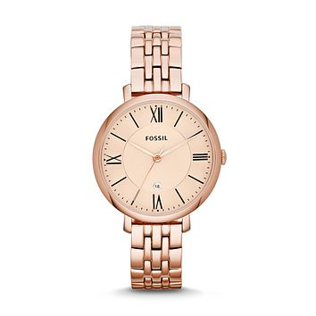 Jacqueline Date Watch, Rose Gold | FOSSIL