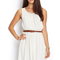 LOVE 21 Belted Chiffon Dress Cream