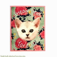 Cat Valentine Card - Meow and Forever - Hand Stitched Valentine's Day Love Embroidered Kitten