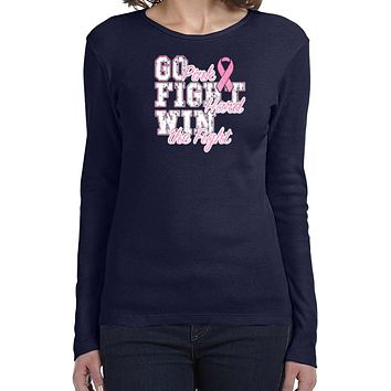 Ladies Breast Cancer T-shirt Go Fight Win Long Sleeve