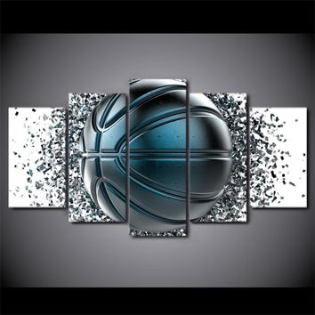 5 Piece Canvas Art Blue Gray Basketball Disintegration Wall Art Canvas Panel Print