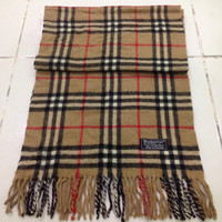 vintage burberrys scarf / scarves 100% lambswool plaid pattern made in england unisex accessories
