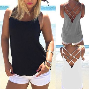 Women Summer Beach Surfing Tanks Back Cross Hollow Sexy Vest Solid Color Tops Shirt