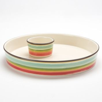 Bobby Flay Santa Fe Striped Chip 'N Dip Tray