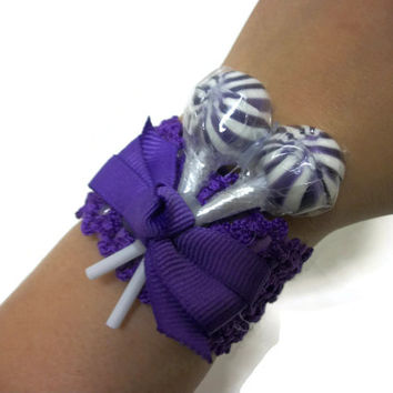 Purple Lollipop Wrist Corsage, Lollipop Corsage, Candy Corsage, Prom, Purple, Homecoming, Wedding, Bridesmaid, Mother of the bride, bridal