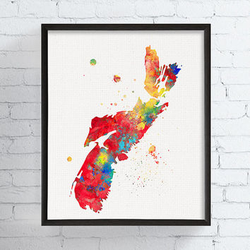 Nova Scotia Map, Nova Scotia Art Print, Nova Scotia Painting, Map Poster, Map Watercolor Print, Travel Print, Framed Art, Custom Color