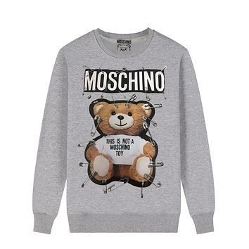 Moschino Autumn And Winter New Fashion Letter Bear Pin Print Women Men Leisure Long Sleeve Top Sweater Gray