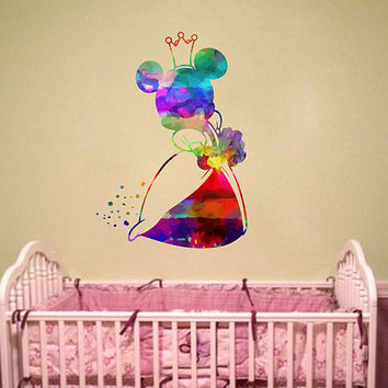 kcik2131 Full Color Wall decal Watercolor Character Disney Minnie Mouse children's room Sticker Disney