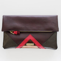 CARRIER 60 / Large leather  fold over daily clutch bag - Ready to Ship