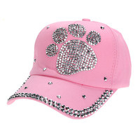 Women Baseball Cap Lady Plum Blossom Paw Print Diamond Snapback Hip Hop Flat Hat Adjustable 1*Baseball cap