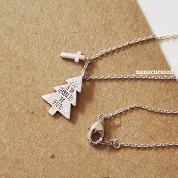 "Tiny Holiday ""Jesus Is The Reason For The Season"" Necklace, Plated Necklace, Instagram, Holiday Gifts, Christmas Gifts, Minimal Jewelry"