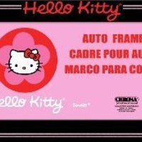 Hello Kitty Head Face with Red Bow and Pink Heart Sanrio Glitter Auto Car Truck SUV Vehicle Universal-fit License Plate Frame - Plastic - SINGLE