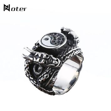 Noter Punk Yin Yang Taiji Vintage Silver Ethnic Signet Rings Fashion Dragon Claw Metal Ring For Men Retro Jewelry bague Hemme