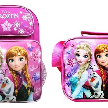 "Disney Frozen Girls 16"" Canvas Pink School Backpack Plus Insulated Lunch Bag"
