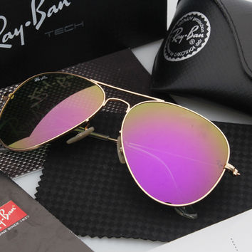 Ray Ban Aviator Sunglass Gold Purple Mirrored RB 3025