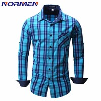 NORMEN Men's Fashion Plaid Shirts100% Cotton Turn-Down Collar Casual Shirt Men Business Shirts chemise homme camisa masculina