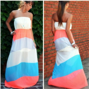 Stripe Strapless Maxi Chiffon Dress