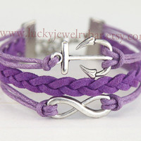 Infinity Bracelet, anchor bracelet, purple, braid leather bracelet, bridesmaid bracelet, friendship gift, spring gift,13-09