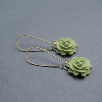 Polymer Clay Rose Earrings. Olive Green Flower Earrings. Long, Dangle, Antique Brass. Green Jewelry. Flower Jewelry
