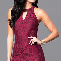 Lace Mini Homecoming Party Dress with Keyhole Cut Out