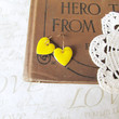 FRIENDS yellow heart earrings gold by brideblu on Etsy