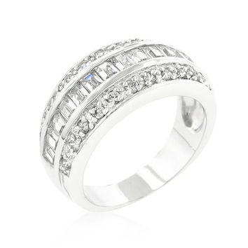 3-row Cubic Zirconia Band, size : 07