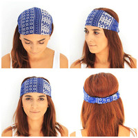 blue boho headbands,yoga headbands,wide headbands