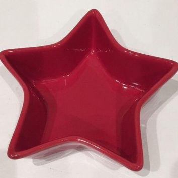 Garden Ridge Red Star Shaped Ceramic Serving Baking Dish Bowl Food Oven Safe 7""