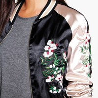Grace Reversible Embroidered Contrast Sleeve Bomber