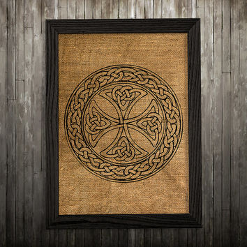 Celtic cross poster Symbol art Burlap print Celtic print BLP587