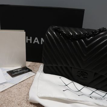Chanel Chevron So Black Jumbo Bag