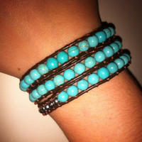 Lovely Cord Wrap Around Bracelet with Turquoise Beads