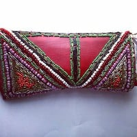 Handmade, Embellished, Beaded Purse, Wallet, One Of A Kind Item, Red Leatherette