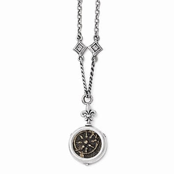 Sterling Silver & Bronze Antiqued Widows Mite Coin & CZ 18 w/3 ext. N