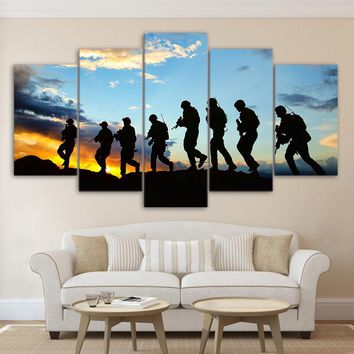 5 piece canvas art American Soldier silhouette canvas Painting wall pictures for