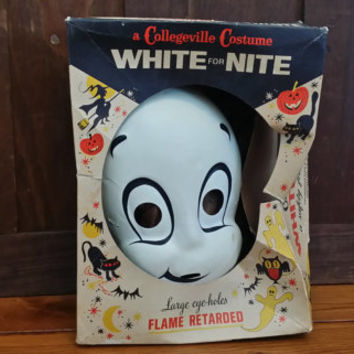 Vintage Casper the Friendly Ghost Costume Masquerade Halloween Mask in Original Box Collegeville Costumes White for Night