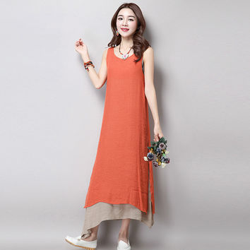 Women's Casual Sleeveless Asymmetrical Hem Layered Midi Dress
