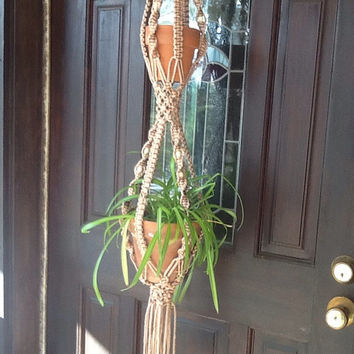 Macrame Plant Hanger, two tier, double hanger with wooden beads, tan 4 mm Polyolefin cord,vintage style