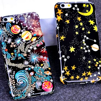 """Ultra Thin Planet Moon Star Cute Phone Cases For iPhone 6 6s 6plus 5.5 4.7 Inch Hard Back Cover Personality Case """" FREE SHIPPING """""""