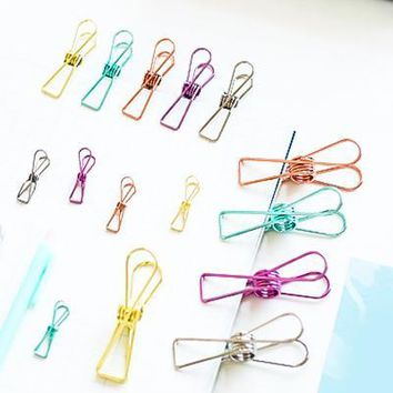 Colorful Fish Tail Binder Clips Randomly Picked Set of 9