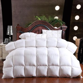 100% goose down winter quilt comforter blanket duvet filling cotton   cover twin single queen supper king size yellow white pin