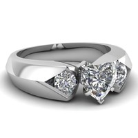 1.05 Ct Heart Shaped 3 Stone Diamond Engagement Ring GOLD Flawless...
