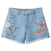 High Waisted Embroidered Denim Shorts